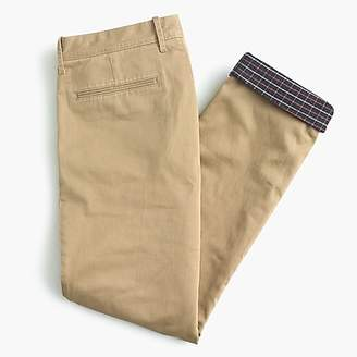 J.Crew 770 Straight stretch chino cabin pant with plaid flannel lining