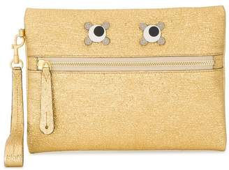 Anya Hindmarch Metallic Gold Leather circulus eyes zip pouch