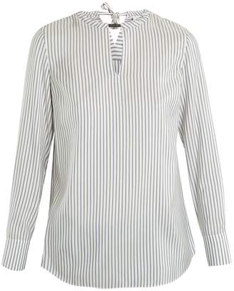 Brunello Cucinelli Neck-embellished striped silk blouse