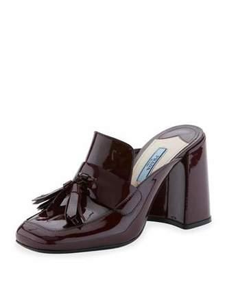 Prada Patent Leather Tassel Mule Pump, Granato $750 thestylecure.com