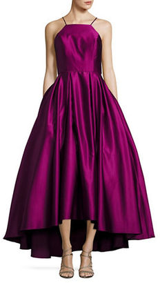 Betsy & Adam Halter Satin Ball Gown $259 thestylecure.com