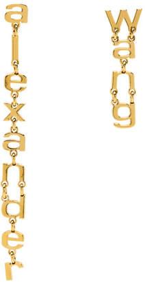 Alexander Wang Gold Letter Logo Earrings