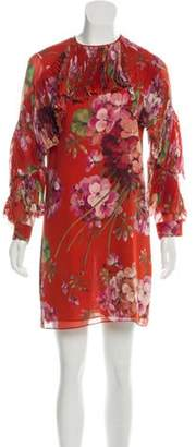 Gucci Floral Pleated Ruffle Dress Red Floral Pleated Ruffle Dress