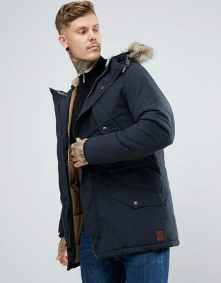 Jack and Jones Vintage Parka With Faux Fur And Fleece Lined Hood