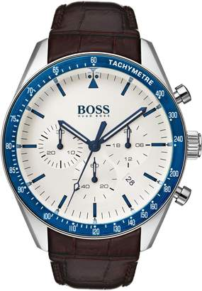 BOSS Trophy Chronograph Leather Strap Watch, 44mm