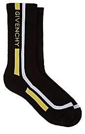Givenchy Men's Rib-Knit Logo Striped Mid-Calf Socks - Black