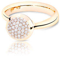 Tamara Comolli Bouton 18K Rose Gold Pave Diamond Ring, Size 7/54