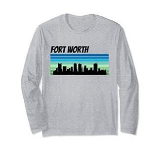 Retro Skyline Silhouette Fort Worth Long Sleeve T-Shirt