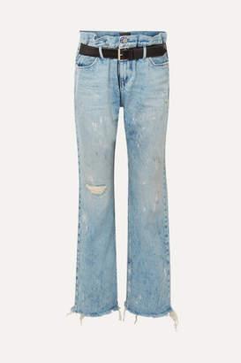 RtA Dexter Belted Distressed High-rise Straight-leg Jeans - Light denim