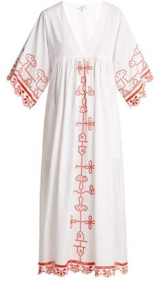 Ganni Peony Embroidered Cotton Midi Dress - Womens - White