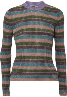 McQ Striped Metallic Ribbed-knit Top - Blue 158b8dc4e