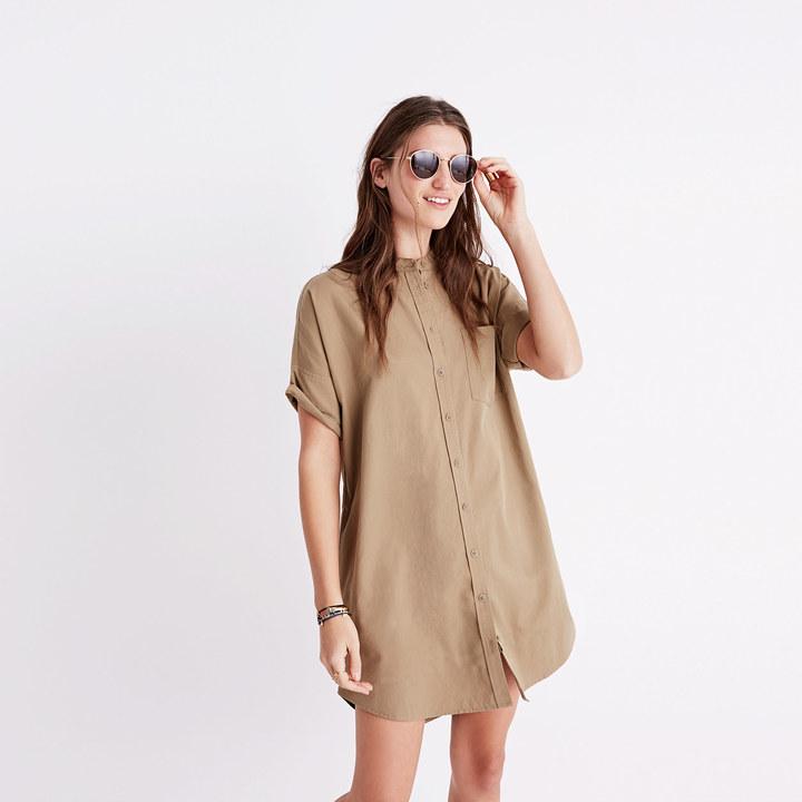 Khaki Button-Down Shirtdress