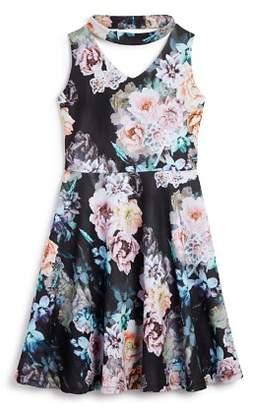 Pippa & Julie Girls' Gigi Floral Print Choker Dress - Big Kid