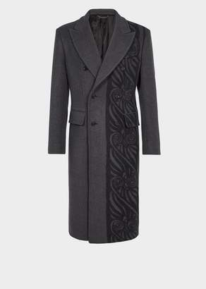 Versace Barocco Border Wool Blend Coat