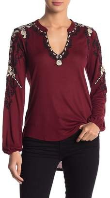 Lucky Brand Embroidered Sleeve Peasant Top