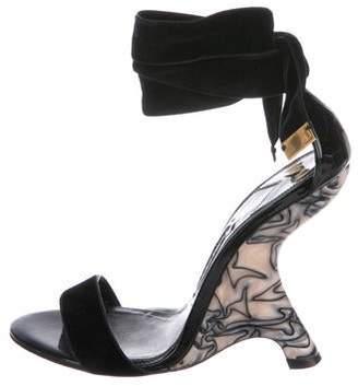 Tom Ford Velvet Ankle-Strap Wedges