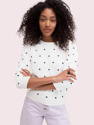 Kate Spade Bobble Dot Crewneck Sweater, French Cream - Size S
