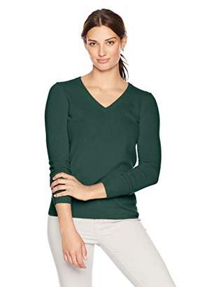 Lark & Ro Women's V-Neck Pullover Cashmere Sweater