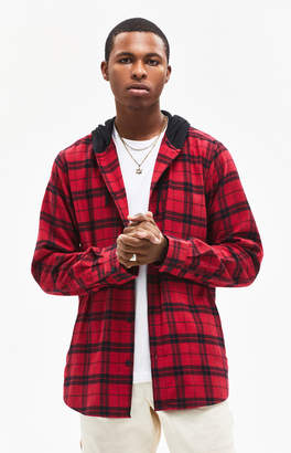 Pacsun Plaid Flannel Hooded Shirt