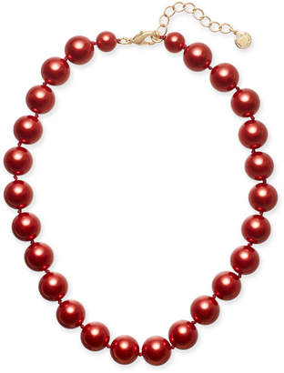 "Charter Club Gold-Tone Red Imitation Pearl Collar Necklace, 16"" + 2"" extender"