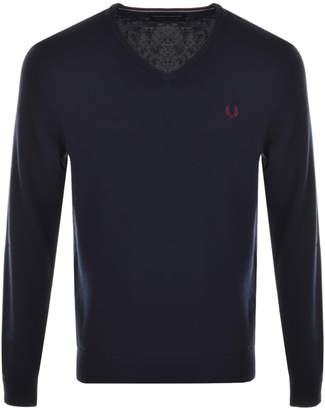 Fred Perry V Neck Knit Jumper Blue