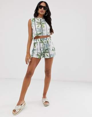 Asos Design DESIGN minimal palm tree print jersey beach shorts co-ord