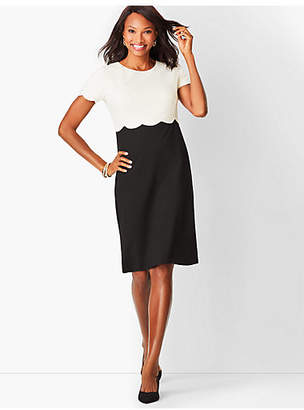 Talbots Refined Scallop-Sleeve Ponte Dress