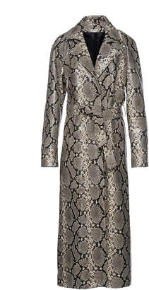 Snake Print Leather Trench Coat