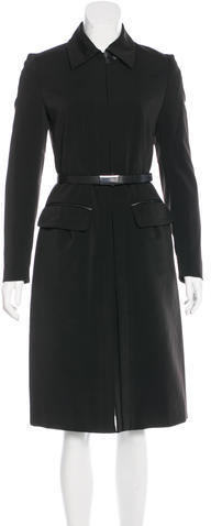 prada Prada Leather-Accented Long Coat