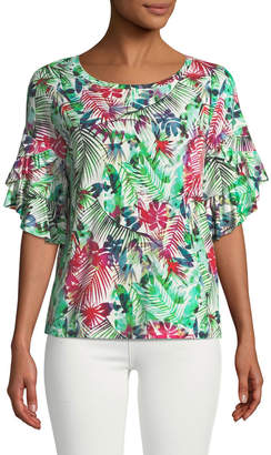 London Times Cascading Double-Ruffle Floral Blouse