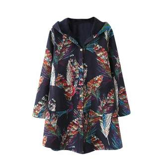 Pervobs Women Coat&Jacket Pervobs Womens Autumn Winter Coats Outwear Vintage Long Sleeve Floral Button Down Hooded Pockets Coats Jacket