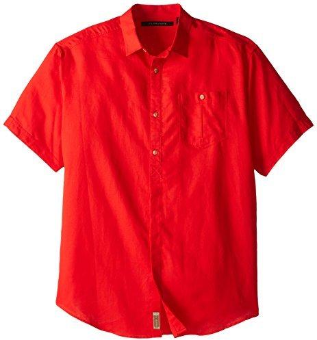 Sean John Men's Big-Tall Short Sleeve Woven Solid Linen Shirt