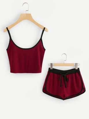 Shein Ringer Crop Cami Top With Drawstring Shorts