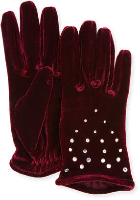 Portolano Velvet Gloves with Crystals