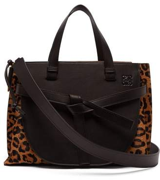 Loewe Gate Leopard Print Leather Tote Bag - Womens - Leopard