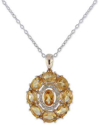 "Macy's Citrine (3-1/2 ct. t.w.) & Diamond (1/8 ct. t.w.) Pendant Necklace in 14k Gold, 16""long + 2"" extender"