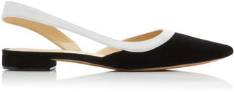 Alexandre Birman Wavee Two-Tone Suede And Leather Slingback Flats