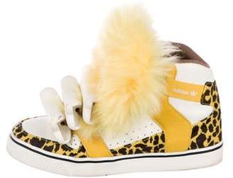 Jeremy Scott x Adidas Shearling-Trimmed High-Top Sneakers