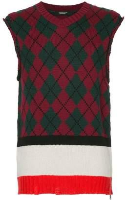 Undercover argyle sleeveless jumper