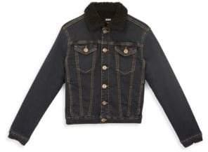 Hudson Jeans Boy's Dante Faux-Shearling Collar Jean Jacket