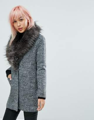 New Look Faux Fur Shawl Collar Tailored Coat