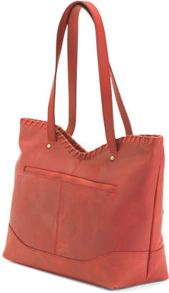 Ophelia Whipstitch Leather Tote