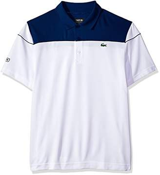 Lacoste Men's Short Sleeve Pique Ultra Dry with Colorblock & Contrast Piping Polo