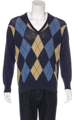 Gucci Linen-Blend Argyle Sweater