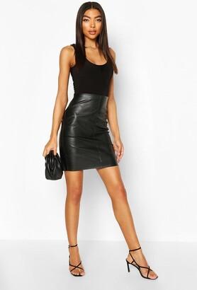 boohoo Tall Leather Look Mini Skirt