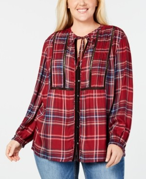 Seven7 Jeans Plus Size Pintucked Plaid Top
