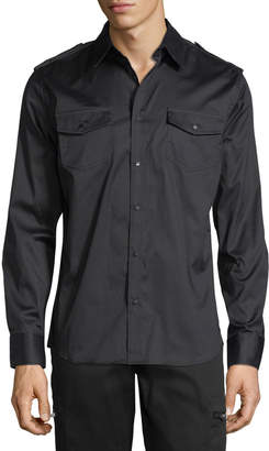 Karl Lagerfeld Paris Military Studded Dress Shirt