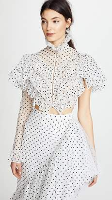 Rodarte Polka Dot One Sleeve Cropped Blouse