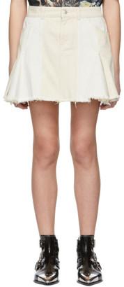 Alexander McQueen Off-White Denim Patchwork Miniskirt