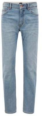 BOSS Hugo Relaxed-fit jeans in stretch cross-weave denim 33/32 Turquoise